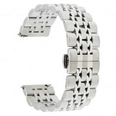 Curea metalica, compatibila Huawei Watch GT, telescoape Quick Release, 22mm, Silver