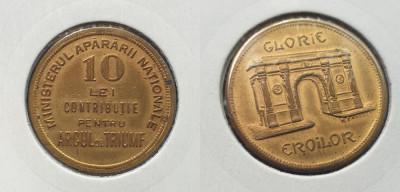 Moneda jeton 1930 GLORIE EROILOR contributie 10 Lei Pentru Arcul de Triumf foto