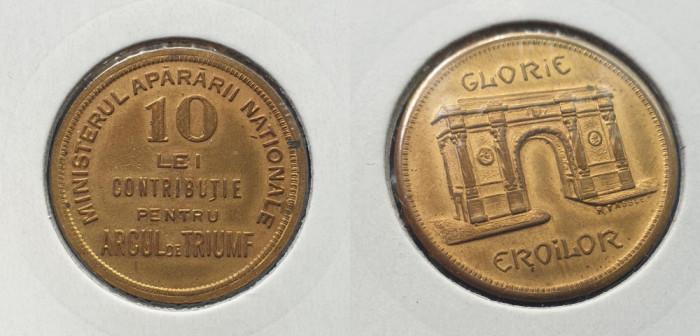 Moneda jeton 1930 GLORIE EROILOR contributie 10 Lei Pentru Arcul de Triumf