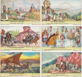 Set 6 cartonase ilustrate Istoria Romaniei, Circulata, Printata