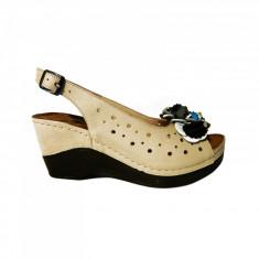 Sandale dama din piele naturala, Cindrella, Anna Viotti, Bej, 38 EU