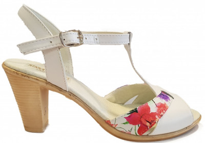 Sandale dama elegante cu toc Ninna Art 142 alb foto