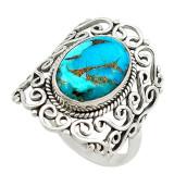 Inel bijuterie dantelat din argint 925 cu turcoaz albastru