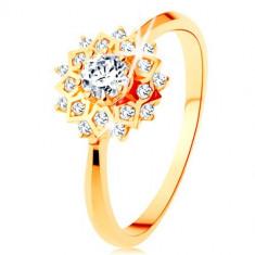 Cumpara ieftin Inel din aur 375 - soare lucios decorat cu zirconii rotunde transparente - Marime inel: 56