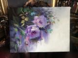 105 Tablou cu trandafiri shabby chic, pictura cu trandafiri mov, flori mov