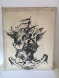 Tablou vechi romanesc serigravura / grafica serigrafica Borotex, corabie, 36x29