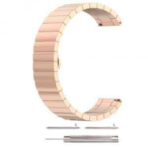 Curea metalica Smartwatch Samsung Gear S3, iUni 22 mm Otel Inoxidabil Rose Gold Link Bracelet