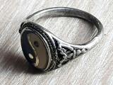 Fermecator inel ANTIC - YIN SI YANG argint confectionat manual - vintage