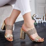 Papuci Madeco aurii cu toc -rl