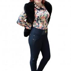 Pantalon bleumarin in tendinte cu insertie de piele ecologica