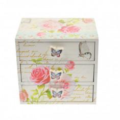 Cutie de bijuterii, din lemn, cu 3 setare, ornament floral - 27456