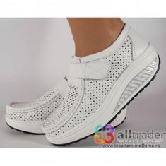 Pantofi albi perforati piele naturala talpa convexa dama/dame/femei (cod AC019-32V2P)