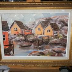 Tablou ulei pe panza  - Sat de pescari, Peisaje, Realism