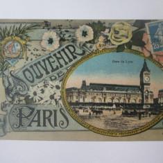 Carte postala circulata Souvenir de Paris-Gara Lyon cca 1910