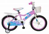 Bicicleta copii 16 FIVE Espurr cadru otel culoare roz bleo roti ajutatoare varsta 4 6 ani