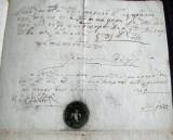 1839 Vechi document Epitropia Arges, hartie filigran, sigilii in fum