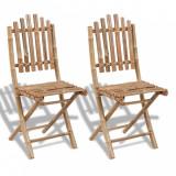 Set 2 scaune pliabile din lemn de bambbus, vidaXL