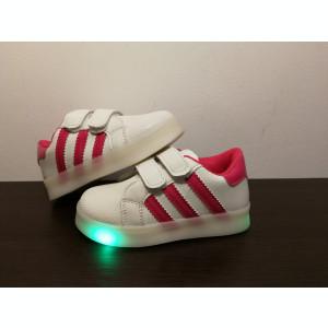 Adidasi cu impulsuri LED  - alb/roz cu arici/scai