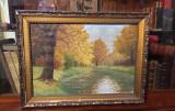 """Tablou """"Toamnă cu pădure și râu"""" (ulei pe pânză, nesemnat, 59x43cm.), Natura, Realism"""
