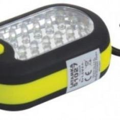 Lanterna LED Magnetica cu carlig MEGA 51027, 24 + 3 Leduri, 3 x AAA, 120 mm (Negru/Galben)