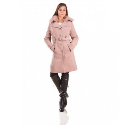 Palton de iarna cu guler imblanit Marina cappuccino foto