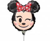 Balon mini figurina Minnie Mouse Emoticon - 22 x 22 cm, umflat + bat si rozeta, Amscan 36363