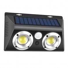 Lampa solara pentru exterior COB LED, 20 W, 2 x LED, 800 lm, senzor miscare