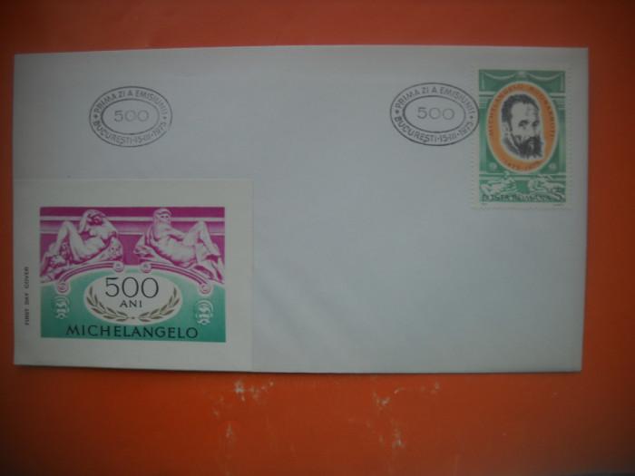 HOPCT PLIC FDC 2707  MICHELANGELO BUONARROTI -TARGUL RICCIONE 1975 -ROMANIA