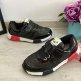 Cumpara ieftin Adidasi negri rosii sclipiciosi sclipici tenisi pantofi sport copii 30, Fete