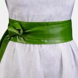 Curea lata petrecuta verde din piele ecologica