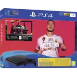 Consola SONY PlayStation 4 Slim, 1TB, Jet Black + joc FIFA20 + PSPlus 14 zile + voucher FIFA Ultimate Team