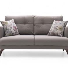 Canapea extensibila tapitata cu stofa, 2 locuri Sante Grej, l162xA96xH82 cm