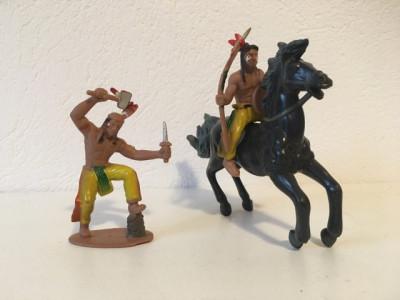 3 figurine indieni si cal, deosebite, cauciuc foto