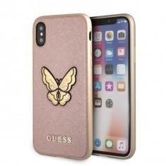 Husa Guess GUHCPXESPBRG iPhone XS X Rose Gold Butterfly Saffiano