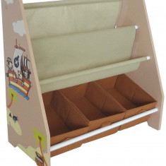 Organizator carti si jucarii cu cadru din lemn Brown Pirate