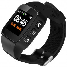 Ceas GPS Copii si Seniori iUni U100 Plus, Telefon incorporat, Pedometru, Notificari, Wi-fi, Black