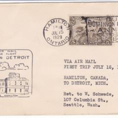 Aviatie, Zboruri, Canada 15 IUL 1929, Primul zbor  Hamilton - Detroit