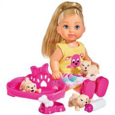 Set Papusa Evi Love Puppy Love 12 cm cu 3 Catelusi si Accesorii