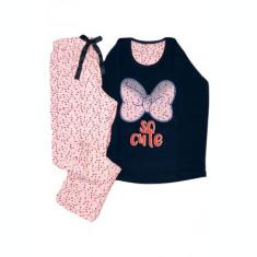 Pijama de Dama din Bumbac,Culoare Roz deschis / Negru