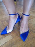 Pantofi Dama, Stradivarius, catifea Albastri. marime 37. noi