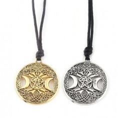 Pandantiv Copacul Vieții / Pentagrama FAZELE LUNII, LUNA TRIPLA+BONUS snur piele