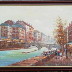 Tablou Peisaj urban pictura in ulei pe panza inramat 70x101 cm, Marine, Realism