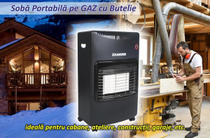Soba Kaminer pe Gaz GPL Butelie, Putere 4200W, 3 Trepte de Incalzire, Incalzitor Ceramic, Portabila pe Roti, Aprindere Automata + Regulator si Furtun