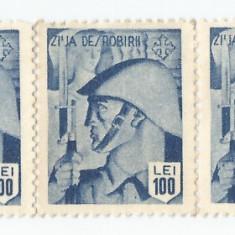România, lot 136 cu 5 timbre fiscale de ajutor, Ziua dezrobirii, MNH
