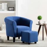 Set de fotoliu și taburet, 2 piese, albastru, material textil