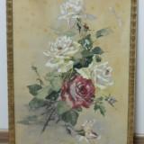 Splendida acuarela cu TRANDAFIRI din 1919 / tablou, Flori, Realism