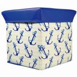 Taburet cu spatiu de depozitare Jocca Anchor, cu capac, PVC, 30 cm, Albastru