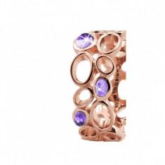 Inel Big Amethyst Bubbles, Argint placat cu aur roze 18k, Ametist, Masura 49