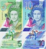 Bancnota Caraibe 5 si 10 Dolari (2019-21) - PNew UNC ( polimer - set x2 )