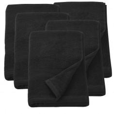 Set 5 prosoape frottir HTHT-1013, 70 x 140 cm, bumbac, negru